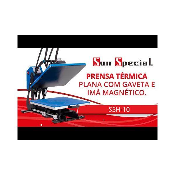 Prensa Térmica com Gaveta e Imã - 38X38 Azul 1800w 220v 60Hz SSH-10A Sun Special